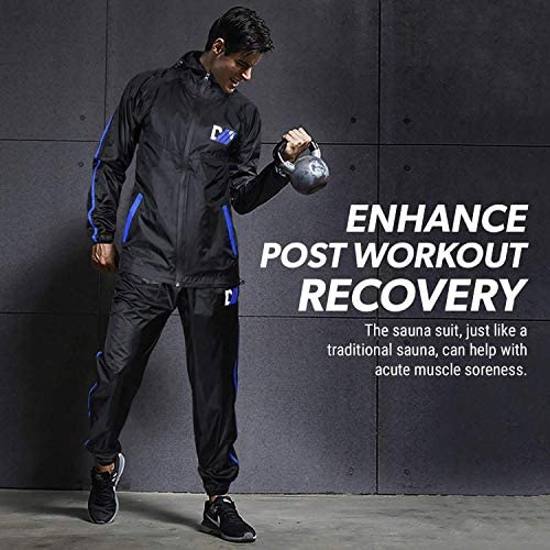 DMoose Sauna Suit for Men and Women, Sweat Suit for Weight Loss 2 Pc Set, Zipper Jacket Pant with Hood Full Body Gym Fit Wear, Anti-Rip Workout Suit Sports Running Cycling Yoga Pilates Boxing Anti-Rip 6