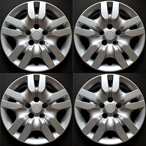 MARROW New Wheel Covers Hubcaps Replacements Fits 2009-2012 Nissan Altima, 16 Inch; 10 Spoke; Silver Color; Plastic; Set Of 4; Bolt ()