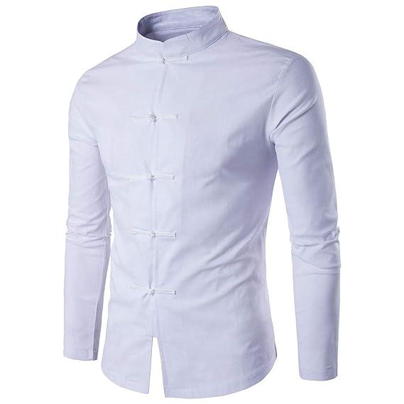 Traje de Lino Tang de Estilo Chino Hanfu para Hombres, Camisa de ...