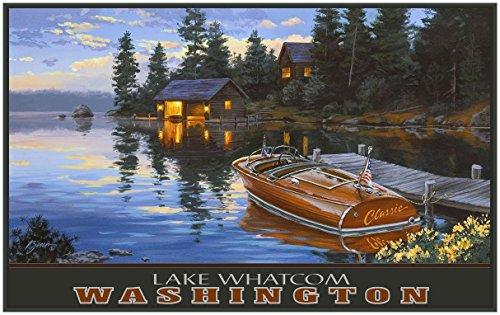 Lake Whatcom Bellingham Washington Criscraft Boat Dock Travel Art Print Poster by Darrell Bush (30