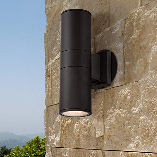 "Ellis Modern Outdoor Wall Light Fixture Black 11 3/4"" Cylinder Up Down Exterior House Porch Patio - Possini Euro Design"