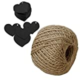 100 PCS Love Heart Shape Blank Kraft Paper Kraft Tag DIY Wedding Party Blessing Greeting Card Label Gift Favor Tags with 30m Jute Twine Black