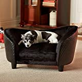 Elevated Dog Bed - Enchanted Home Pet Ultra Plush Snuggle Bed, 26.5 by 16 by 16-Inch, Black Basket