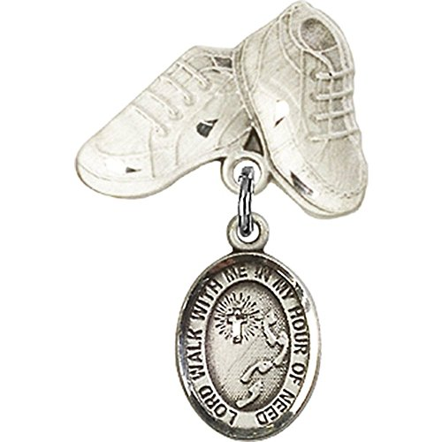 Sterling Silver Baby Badge with Footprints / Cross Charm and Baby Boots Pin 1 X 5/8 inches