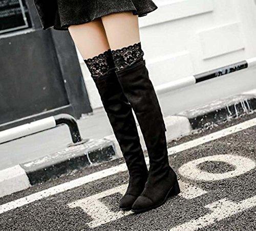 de Chunkly Encantador de encaje Knight punta botas 39 Botas de Zipper botas 5 estiramiento Tamaño muslo Seude Heel de botas Black 34 vestido Stovepipe Toe con Eu 5 cm mujeres 7UaWdaqw