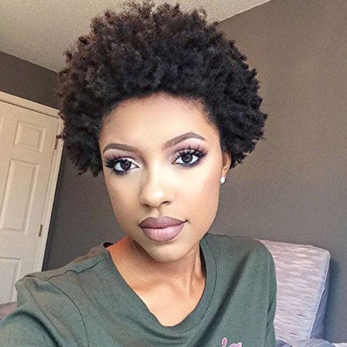 AnAn Synthetic Black African Kinky Curly Afro Wig for Women Fluffy Tight Curly Heat Resistant Wigs for $<!--$14.99-->