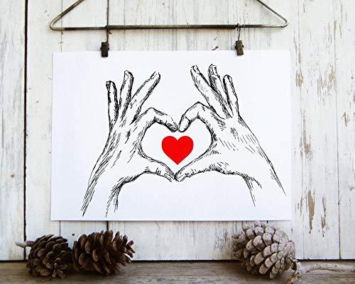 Printable Red Heart - Love Heart Hands Sign Illustration, Red Heart Print, Printable Wall Art, Art & Collectibles, Teen Room Decor, red Heart Frame