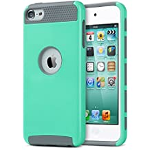 iPod Touch 5 Case for girls boys,iPod Touch 6 case,ULAK Dual Layer Slim Protective Hybrid iPod Touch Case Hard PC Cover for Apple iPod touch 5 6th Generation (Aqua Mint/Grey)