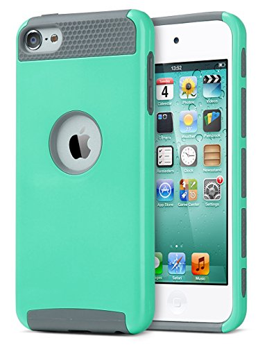 iPod Touch 5 Case for girls boys,iPod Touch 6 case,ULAK Dual Layer Slim Protective Hybrid iPod Touch Case Hard PC Cover for Apple iPod touch 5 6th Generation (Aqua Mint/Grey) (Touch For 5 Girls Cases Ipod)