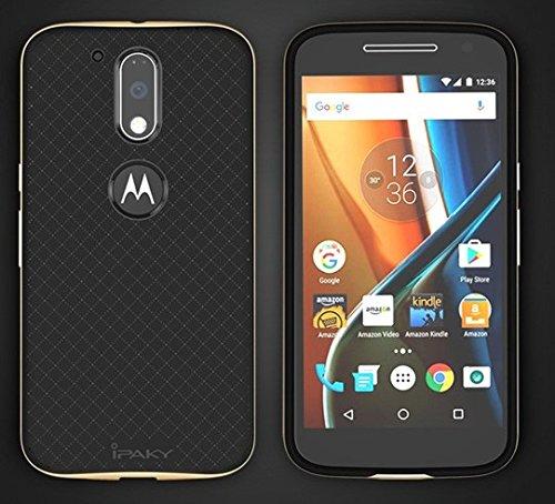 uk availability c2976 2df96 iPaky Ultra-Thin Silicon inner Black Back + PC Golden Frame Bumper Back  Cover For Motorola Moto G Plus 4th Gen ,Golden