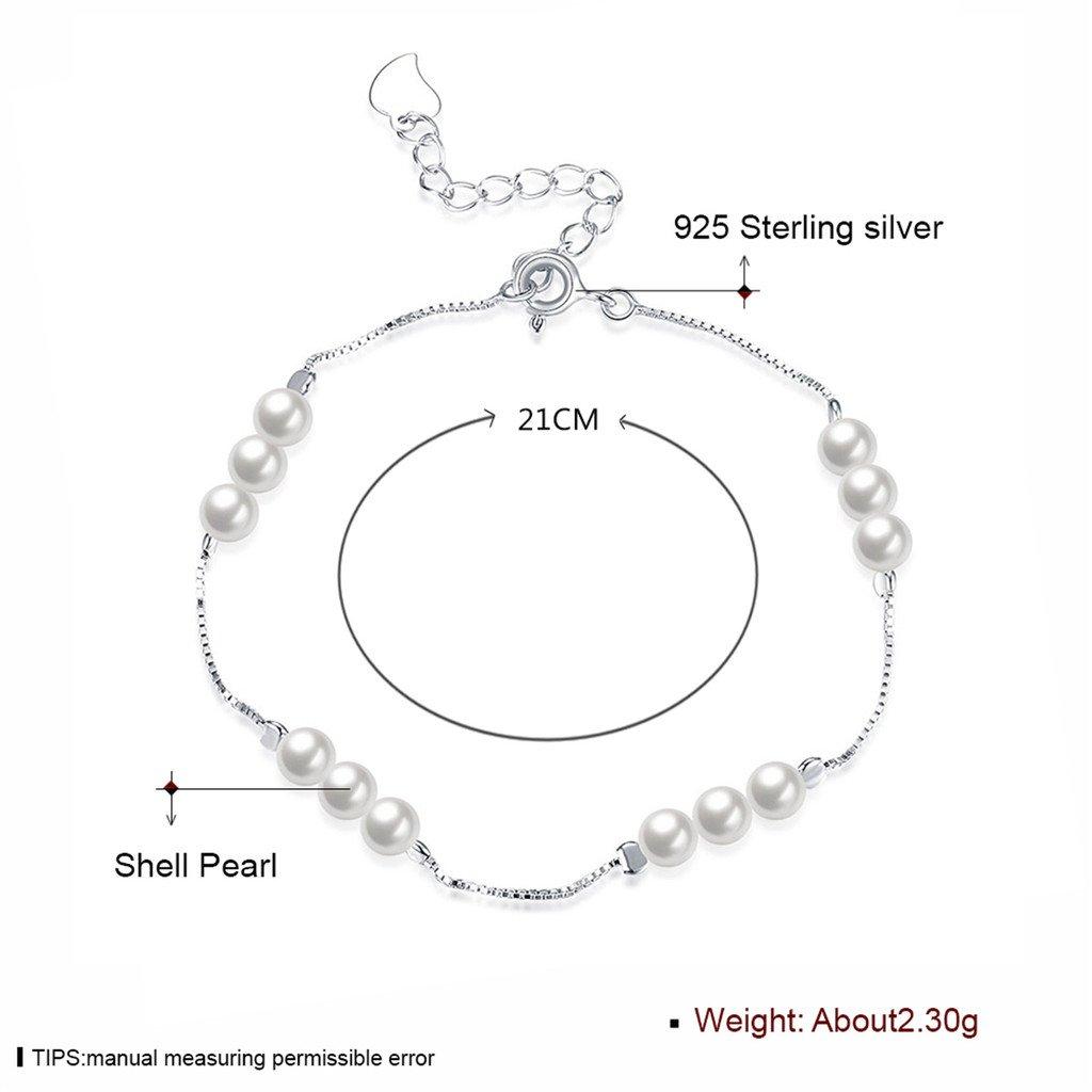 Pulsera de plata de ley con cuatro perlas blancas de agua dulce Calidad AAA