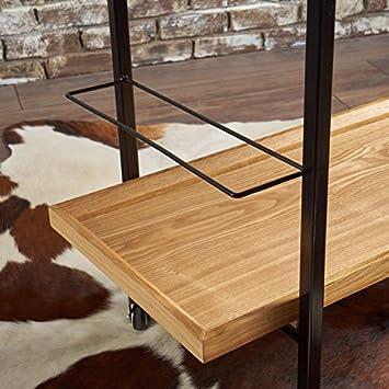 Gerard Industrial Natural Finished Wooden Bar Cart