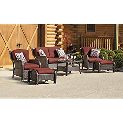 Hanover STRATHMERE6PCRED Strathmere 6-Piece Steel-Frame Wicker Outdoor Patio Seating Set with Crimson Red Cushions, 4 Throw Pillows and Glass-Top Coffee Table