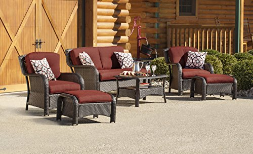 Hanover STRATHMERE6PCRED Strathmere 6-Piece Steel-Frame Wicker Outdoor Patio Seating Set with Crimson Red Cushions, 4 Throw Pillows and Glass-Top Coffee Table For Sale