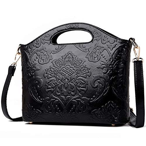 MLpus Women's Embossed Leather Shoulder Bag Ethnic Style Messenger Bag Ladies Handbag Fashion Handbag (Color : Black)
