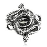 Beydodo Mens Silver Ring, Two Snake Ring Size 8.5 Silver Ring for Men Hip Hop