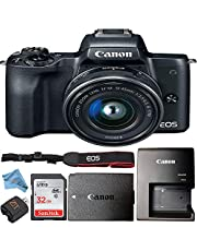 Canon EOS M50 Mirrorless Camera Kit with 15-45mm Lens Retail Packaging Bundle