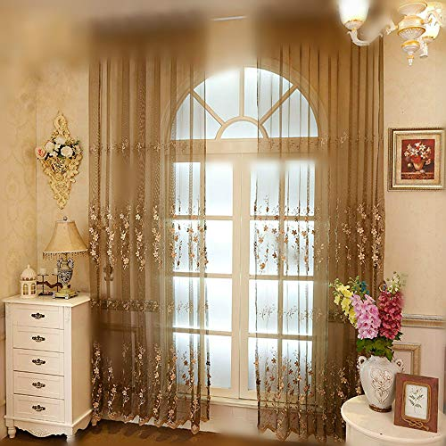 95' Curtain Drapery - WINYY Exquisite Embroidered Floral Window Curtain Panel Beads Embroidery Sheer Curtain Gauze Decorative Bedroom Drapery Rod Pocket Tulle Home Decor 1 Panel (95''W x 96''H)
