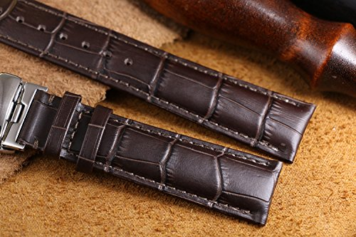 17mm Premium Dark Brown Watch Leather Band Replacement Top Layer Cowhide Rectangular Scales Rose Gold Pin Clasp by autulet (Image #2)