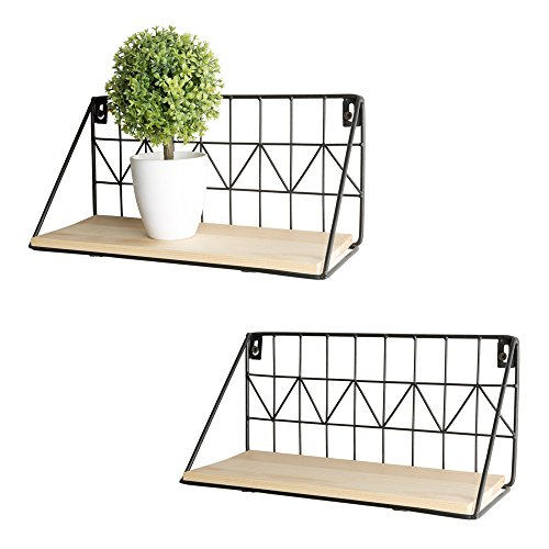 Wall Mounted Floating Shelves Set of 2 Rustic Metal Wire Storage Shelves Display Racks Home Decor by Mkono, 11 1/2 Inches