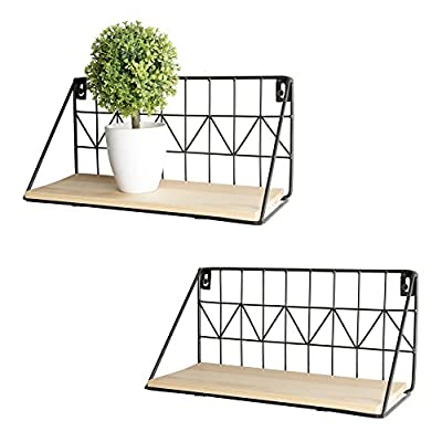 Mkono Floating Shelves Wall Mounted Set of 2, Rustic Modern Wood Wall Storage Shelves with Metal Wire Display Shelf for Bedroom Living Room Bathroom Kitchen Office,Beige,Small 11.5 Inch - ✔ This metal hanging shelves can be used as a storage shelves, wall display standing shelves, and simple living room backdrop to decorate your bedroom, living room, office and kitchen. ✔ Multi-purpose display shelves for products, collectibles, small plants, toys, jewelry, frames, Christmas decor, spice jars, and more ,Great for bathroom bedroom, living room, office, kitchen, or to exhibit family photos gallery style in a long hallway ✔ Country rustic decor-Perfect for storing and displaying, it will bring a bit of country rustic style and sensible organization to your home with this beautiful wall wood shelf. . Simply decorate empty wall space above desk, fireplace, entryway, between windows -.Use as over the faucet shelf , laundry shelf for over washer or dryer, and much more - wall-shelves, living-room-furniture, living-room - 51JhmZgoYQL. SS400  -