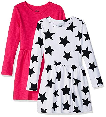 (Spotted Zebra Little Girls' Knit Long-Sleeve Play Dress, Star/Pink, Small (6-7))
