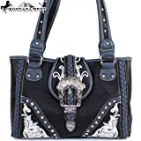 Montana West Classic Cow Girl Embroidery Buckle Rhinestone Small Round Rivet Studded Handbag Western Shoulder Purse Large Size in Black, Bags Central