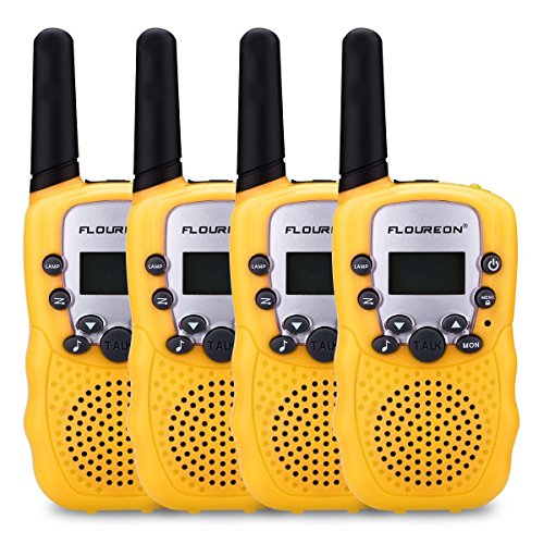 floureon 4 Packs 22 Channel Walkie Talkies Two Way Radios 3000M (MAX 5000M Open Field) UHF lLong Range Handheld (Yellow x 4)