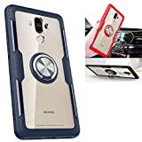 Huawei Mate 9 Transparent Case,360° Rotating Ring Kickstand Protective Case,TPU+PC Shock Absorption Double Protection Cover Compatible with [Magnetic Car Mount] for Huawei Mate 9 Case (Navy/Silver)