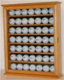 49 Golf Ball Display Case Cabinet Holder Rack, Counter top or Wall Mounting (Oak)