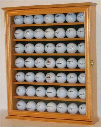 49 Golf Ball Display Case Cabinet Holder Rack, Counter Top Or Wall Mounting  (OAK
