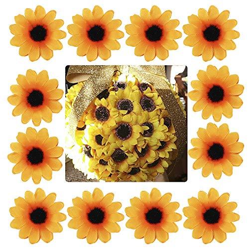 Newdanceus 100Pcs Mini Artificial Silk Sunflower Heads for Sunflower DIY Wedding Fall Autumn Party Floral Wreath Accessories Garden Craft Art Decor]()
