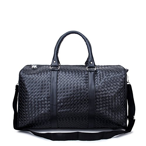 sykt-texture-leather-travel-tote-bag-duffel-bag-weekender-bagblack