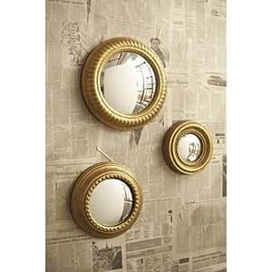 Gold Leaf Convex Wall Mirror Set