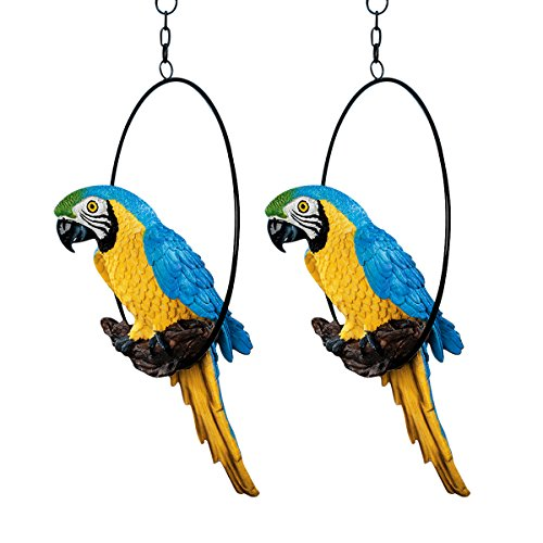 Design Toscano Polly in Paradise Parrot Hanging Bird Ring Perch Statue, Medium 14 Inch, Set of Two, Polyresin, Full Color