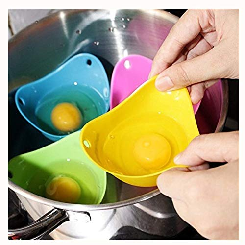 Egg Poacher - Verna's Bazaar Silicone Egg Poaching Cups, For Microwave or Stovetop Egg Cooking, Set of 4(Random Color)