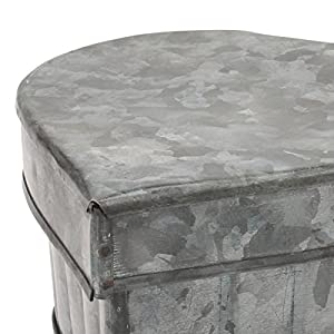 Stonebriar Aged Galvanized Metal Heart Shaped Storage Container with Removable Lid, Rustic Keepsake Trinket Box, Unique Small Jewelry Holder