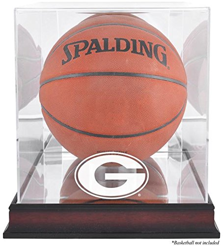 Georgia Bulldogs Wall Mirror - Georgia Bulldogs Basketball Display Case | Details: Mahogany Base, Antique Finish, with Mirror Back