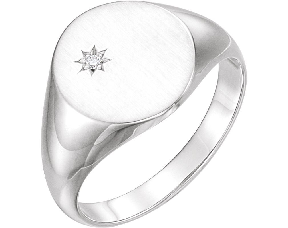Men's Diamond Signet Ring, Rhodium-Plated 14k White Gold (.02 Ct, G-H Color, I1 Clarity) Size 11.75