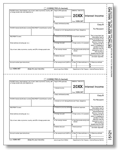 IRS Approved 1099-INT Copy B Tax Form - 100 forms by EGPChecks