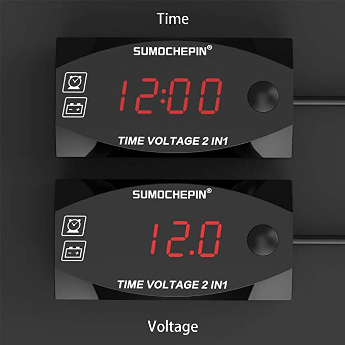 MASO 12V Motorcycle LCD Clock 12-24V Multifunctional 2 IN 1 Voltmeter Voltage Indicator Time Table Digital LED Display