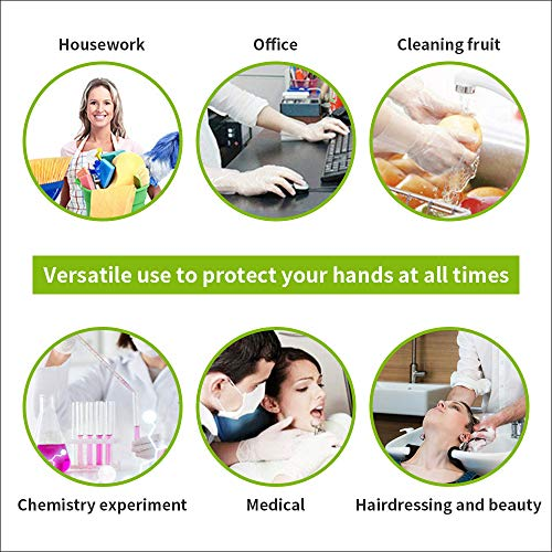 Clear Vinyl Gloves, Powder&Latex Free Disposable Glove,Non Allergy for Industrial, Food Service, Cleaning