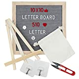 Felt Letter Board 10x10 inch - AUTOPkio Grey Wooden Message Board Set Changeable Letter Boards with Stand, 510 Letters, Emojis, Oak Frame, Wall Hook, Storage Bag, Small Scissors
