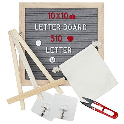 Felt Letter Board 10x10 inch - AUTOPkio Grey Wooden Message Board Set Changeable Letter Boards with Stand, 510 Letters, Emojis, Oak Frame, Wall Hook, Storage Bag, Small Scissors (Grey)