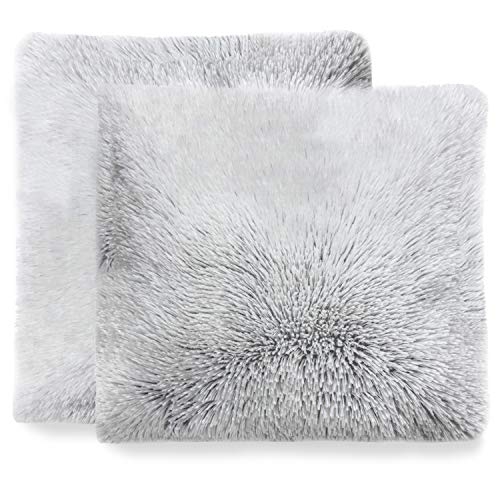 Cheer Collection Set of 2 Shaggy Long Hair Throw Pillows | Super Soft and Plush Faux Fur Accent Pillows - 18 x 18 inches, Gray