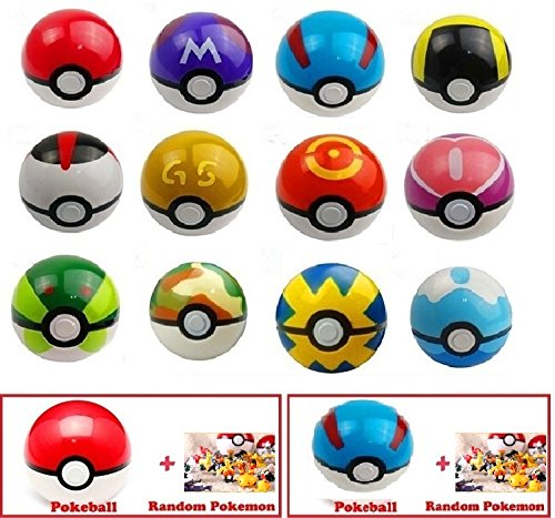 (2-Pack) Pokemon Go Pokeball & Great Pokeball Toys with Two Action Figures Inside - Real Toy Pokeballs that Open- Includes Four Pokemon Figurines & Two Pokeballs | EpicGifts