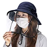 Fancet Womens Protection Bucket Hat with Detachable Face Shield Anti Saliva Fog Navy Hat