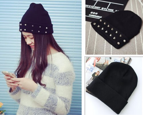 MAZIMARK--WOMENS LADIES MEN GOTH PUNK HAT STUDDED STUD SPIKE RIM KNITTED BEANIE WINTER HAT