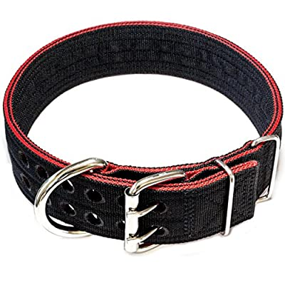 Pitbull Collar, Dog Collar for Large Dogs, Heavy Duty Nylon, Stainless Steel Hardware