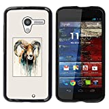 For MOTO X / XT1058 / XT1053 / XT1052 / XT1056 / XT1060 / XT1055 Case , Goat Painting Horns Ram Art - Colorful Pattern Hard Back Snap-On Cover Case Skin Mobile Phone Shell Bumper